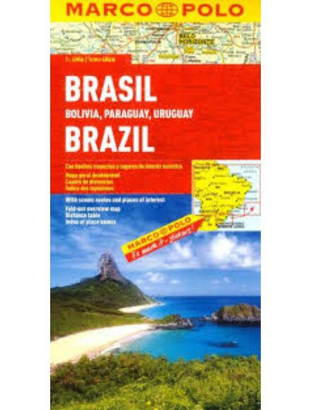 Brazília, Bolívia, Paraguay, Uruguay térkép