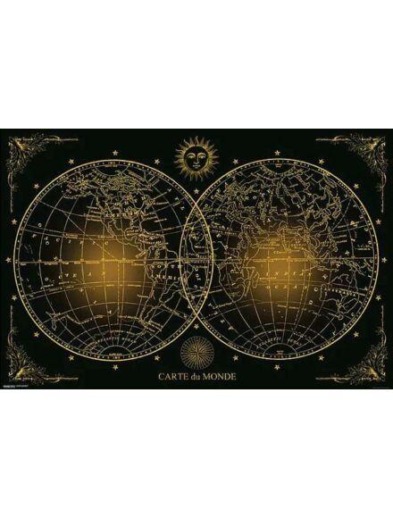 Cartographia  - Világtérkép fekete-arany - Keretes