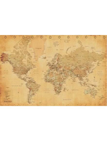 Cartographia  - Világtérkép Antik - Keretes