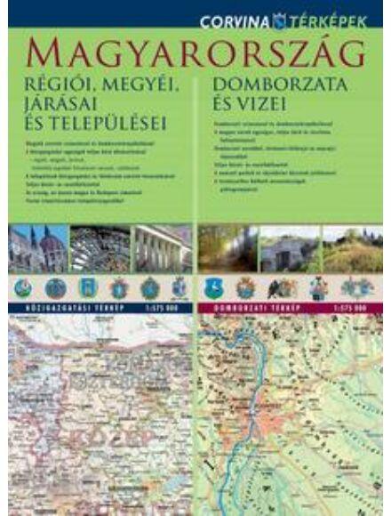 Cartographia  - Magyarország régiói,megyéi /Mo. domborzata duo tkp. (Corvina)