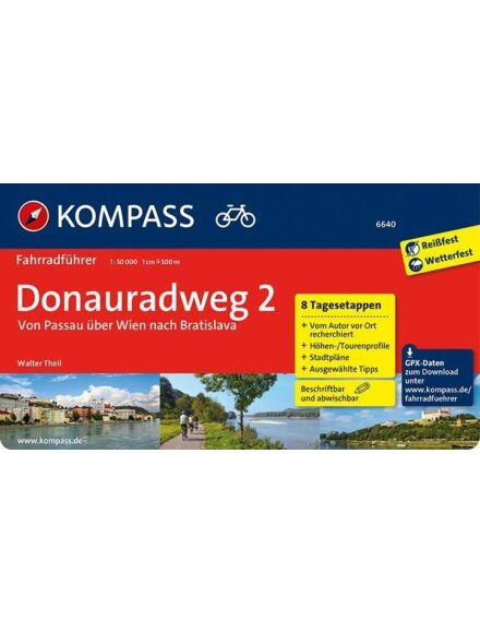 K 6640 Donauradweg 2  Passau-tól Pozsonyig kerékpáros útikönyv