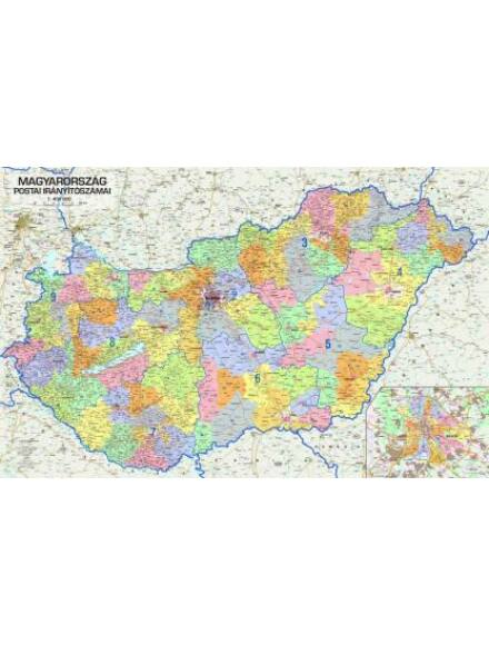 Cartographia  - Magyarország postai irányítószámai keretes falitérkép