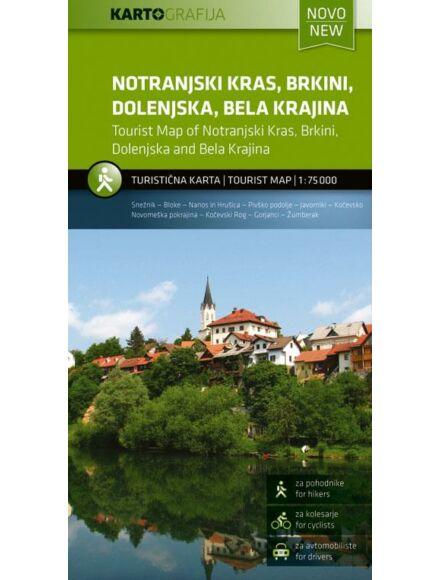 Notranjski Kras, Brkini, Dolenjska, Bela krajina turistatérkép