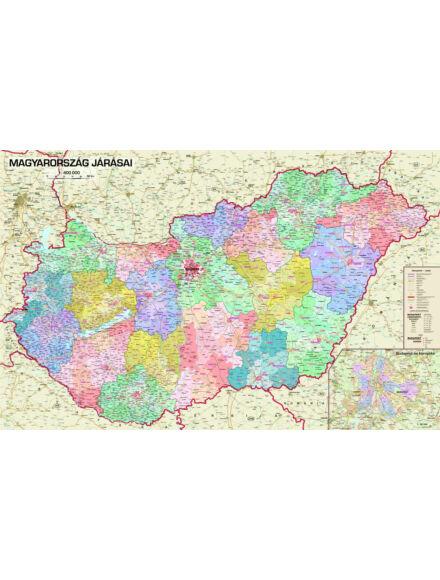 Magyarország járásai 1:400 000 falitérkép - keretes