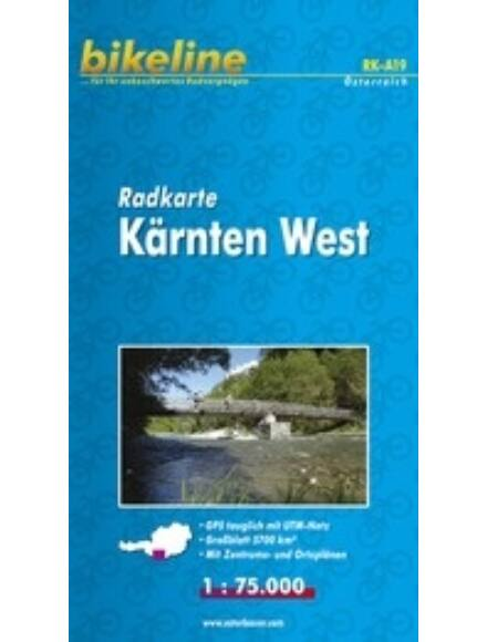 Nyugat-Karintia kerékpáros térkép