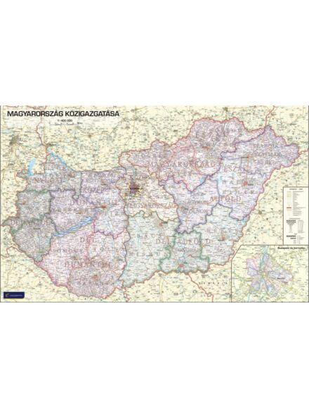 Magyarország közigazgatási falitérkép 1:400 000 (nagy méretű) - lécezett
