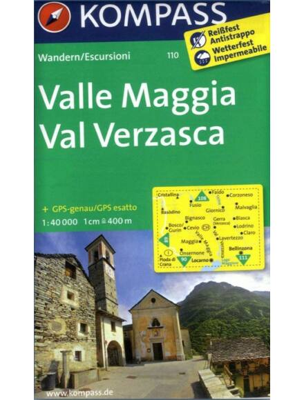 Cartographia  - KOMP 110 Valle Maggia-Val Verzasca turistatérkép
