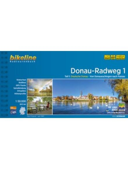 Cartographia  - Duna kerékpáros kalauz 1. Donaueschingen Passau (német)